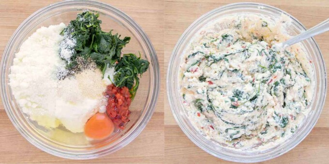 two images showing how to make the ricotta stuffing