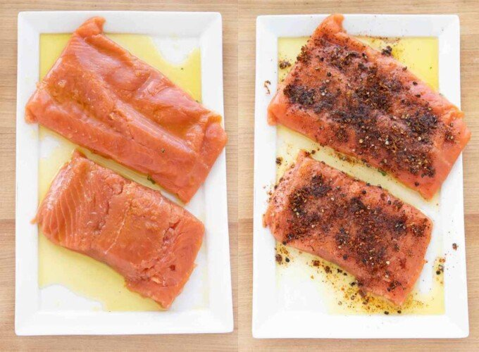 two images showing how to dry rub the salmon