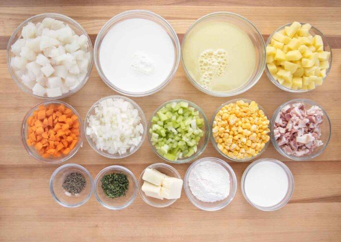 overhead view of ingredients to make fish chowder