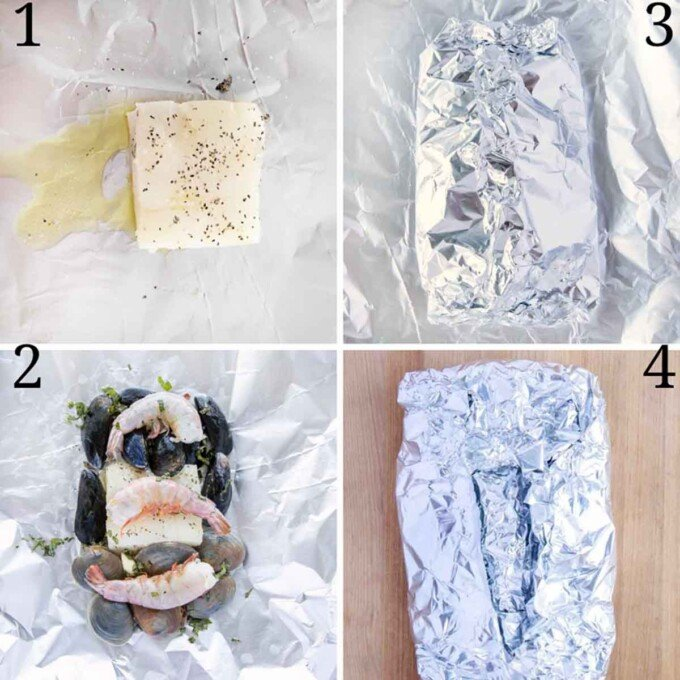 four images showing how to make seafood combo foil packet