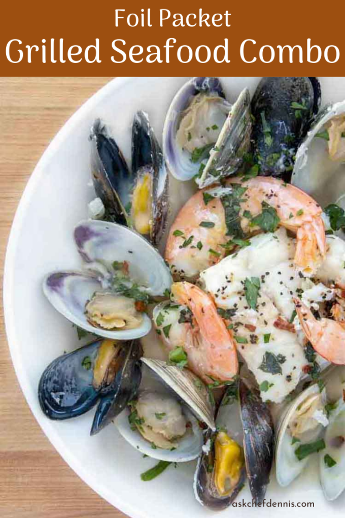 Pinterest image for grilled seafood combo