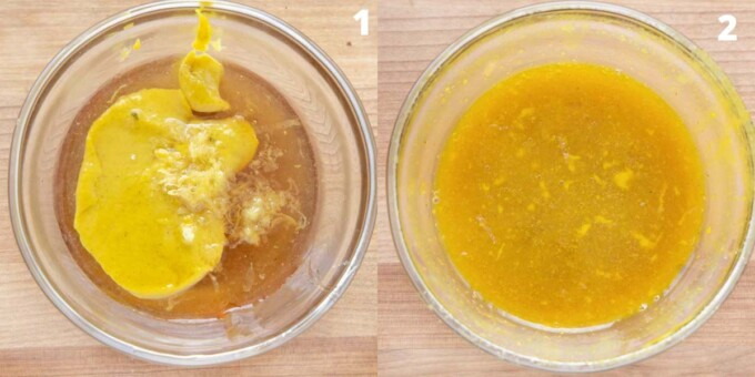 two images showing how to make the honey mustard barbecue sauce