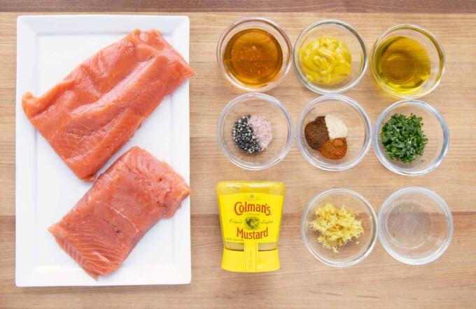 overhead view of ingredients to make honey mustard salmon