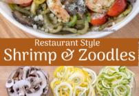 Pinterest image for shrimp and zucchini noodles