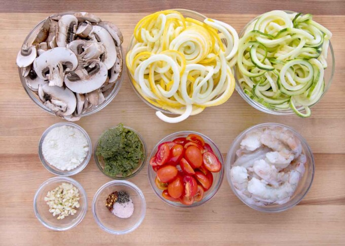 overhead view of ingredients to make shrimp and zoodles