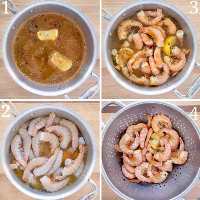 four images showing how to make peel and eat shrimp