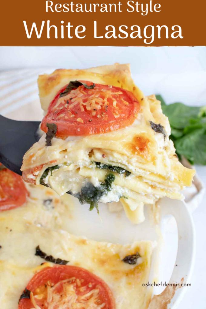 pinterest image for white lasagna