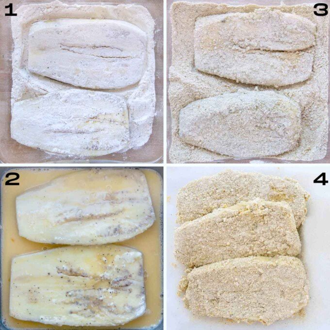 four images showing how to bread eggplant parm