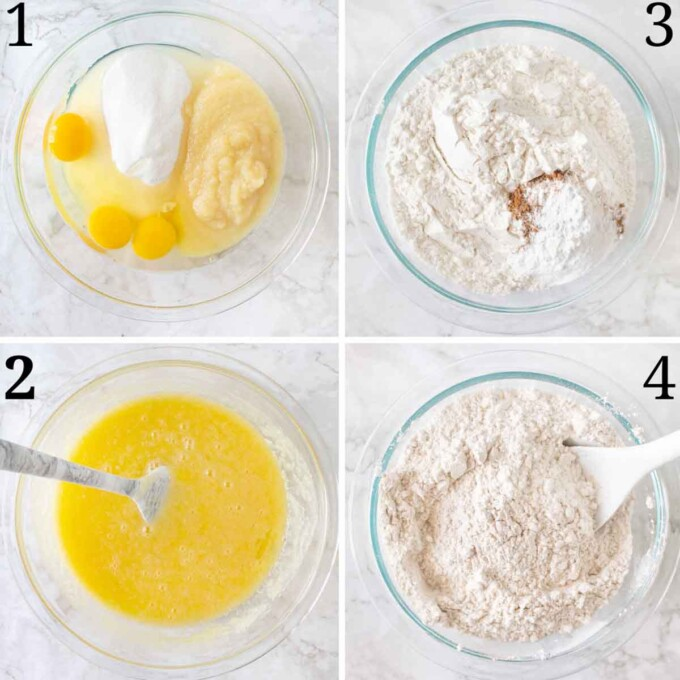 four images showing prep for carrot cake