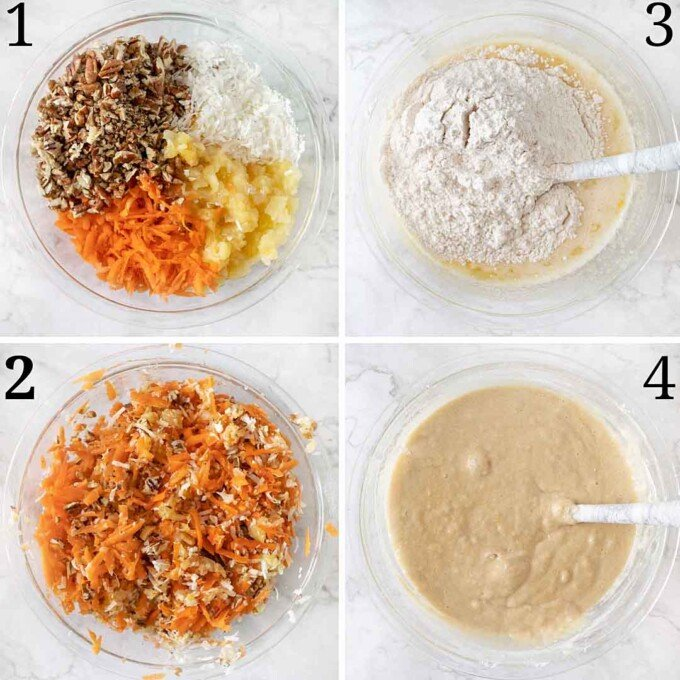 four images showing prep and mixture of carrot cake