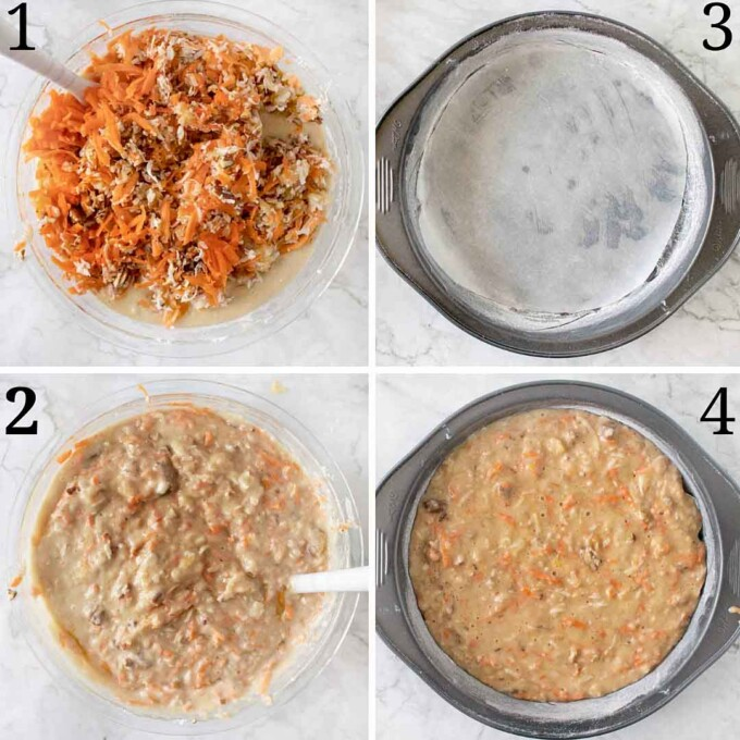 four images showing the finish of the carrot cake batter and placing into prepped pan