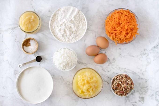 Ingredients to make carrot cake