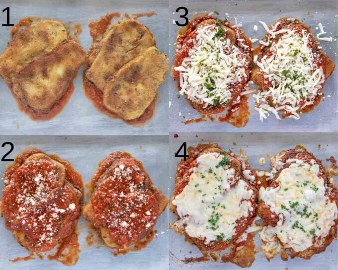 four images showing how to finish making eggplant parm