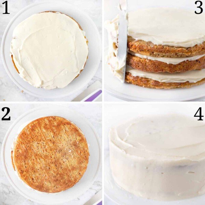 four images showing how to frost the carrot cake