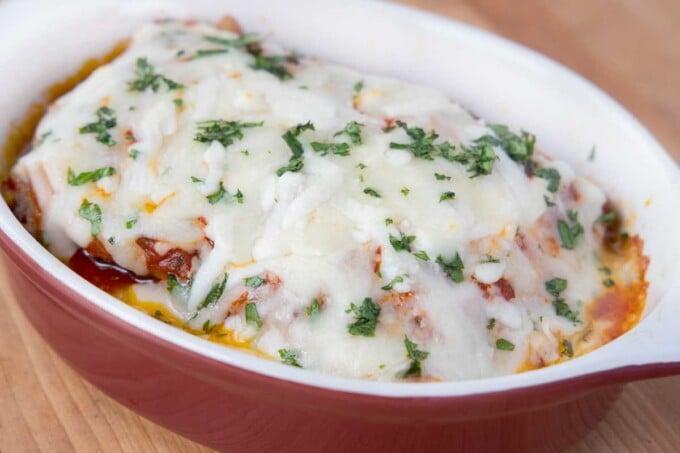 baked lasagna in individual baking dish