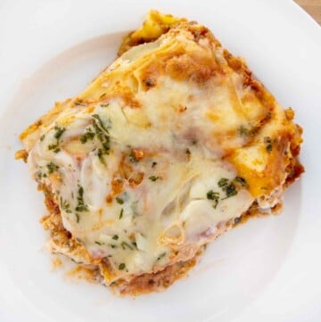 overhead shot of lasagna on a white plate