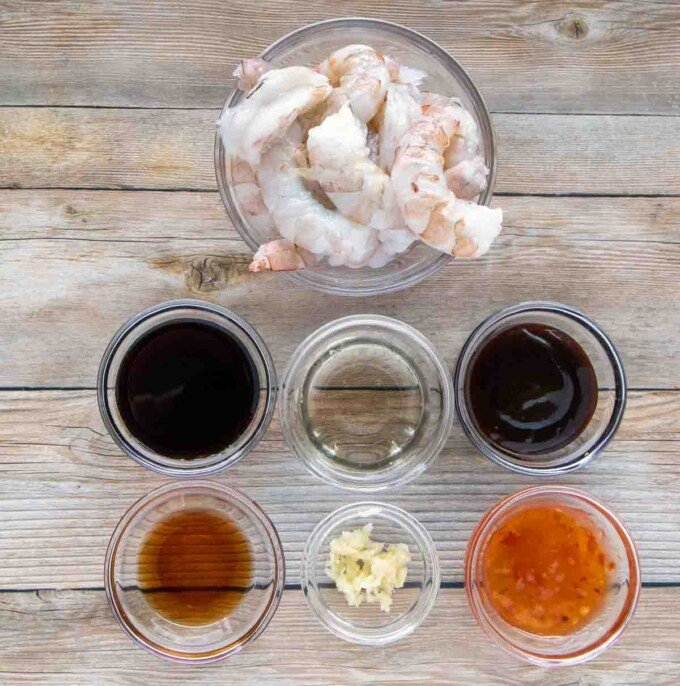ingredients to make the shrimp marinade