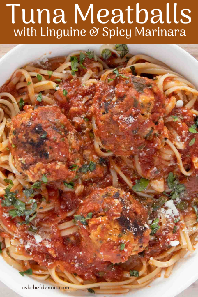 Pinterest image for tuna meatballs and linguine