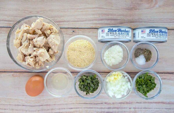 overhead view of ingredients to make tuna meatballs