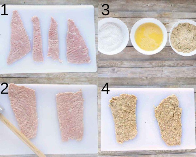 four images showing how to prepare veal parm