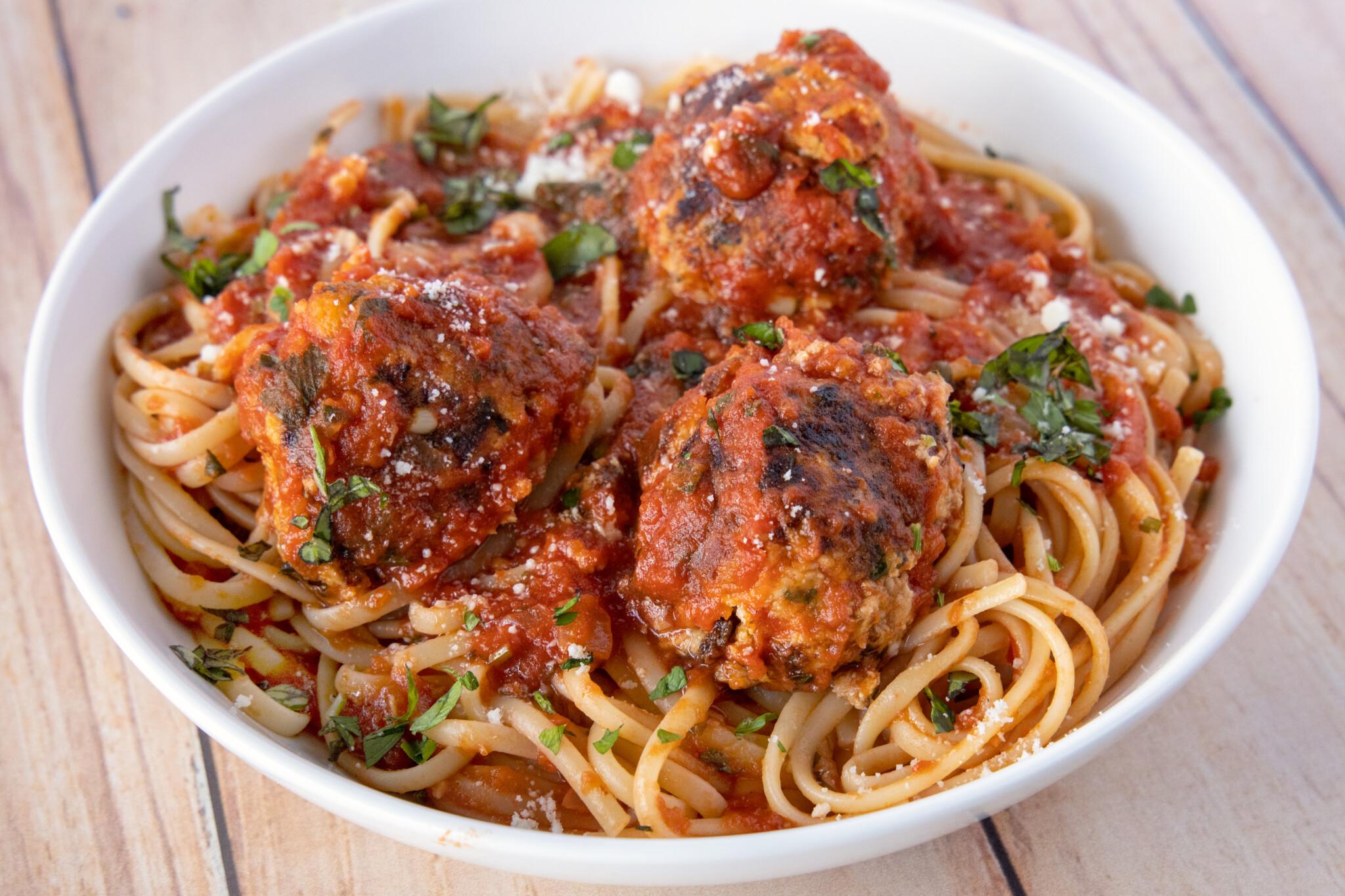 Tuna Meatballs with Linguine and Spicy Marinara Sauce