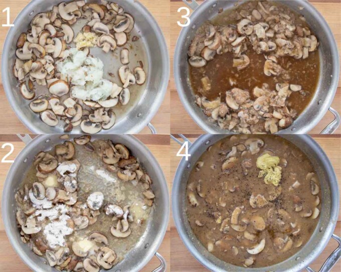 four images showing how to make mushroom gravy