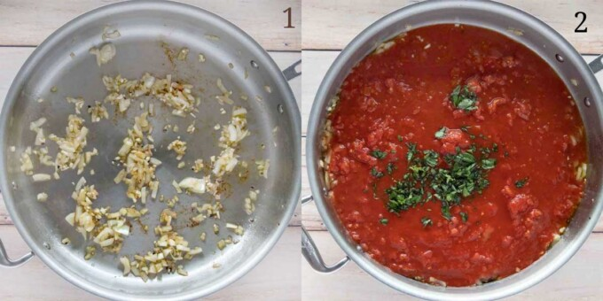 two images showing how to make the spicy marinara for the pork chops