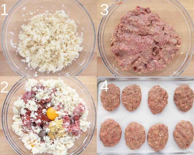 four images showing how to make salisbury steak