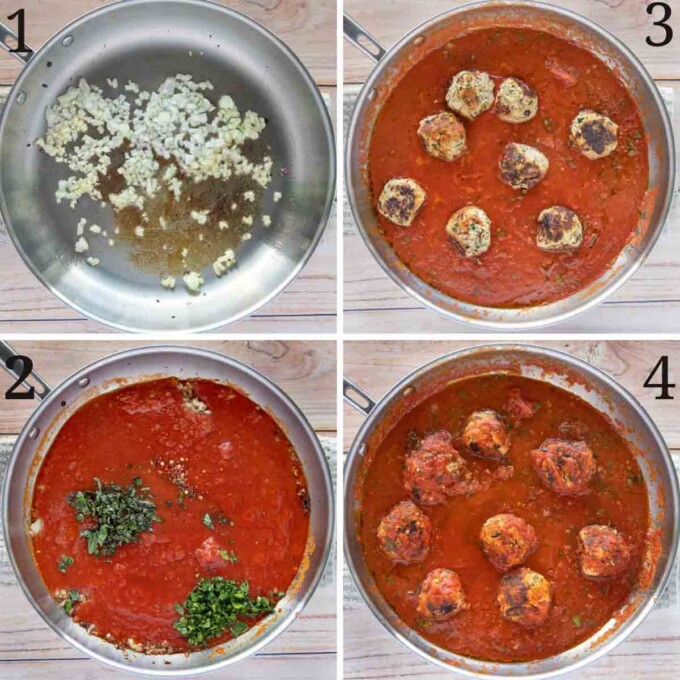 four images showing how to make a spicy marinara sauce with tuna meatballs