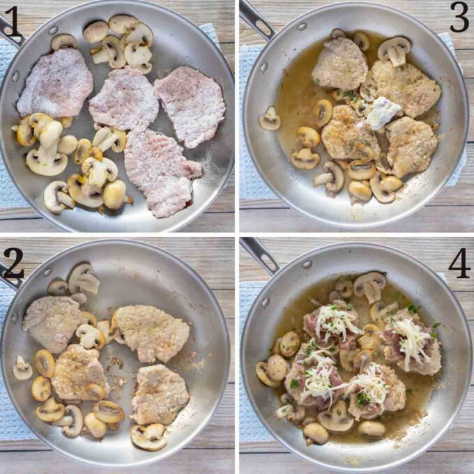 four images showing how to prepare veal saltimbocca